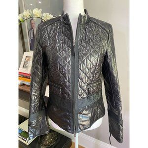 Marc Cain Vintage Black 100% Leather Long Sleeve Quilted Jacket Women's Size 2